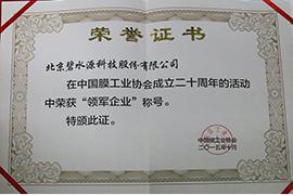 2015年中国膜行业20年领军企业奖